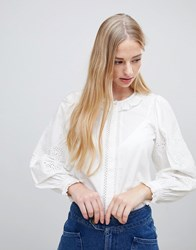 Intropia Broderie Blouse With Ruffle Collar White