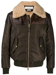 Alexander Mcqueen Logo Print Flight Jacket Brown