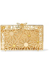 Charlotte Olympia Pandora In Bloom Crystal Embellished Gold Tone Clutch One Size