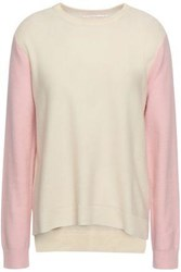 Chinti And Parker Two Tone Wool Cashmere Blend Sweater Ivory