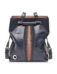 Francesco Biasia Incenso Genuine Leather Backpack Shoulder Bag Blue Sapphires