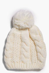 Boohoo Cable Knit Oversize Pom Beanie Hat White