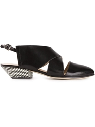 Atalanta Weller Sling Back Cross Over Pumps Black
