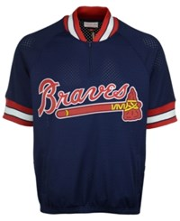 Mitchell And Ness Men's Atlanta Braves Bp Mesh Jersey Top Navy Red White
