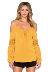 Vava By Joy Han Joanne Open Shoulder Top Mustard