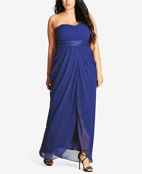 City Chic Trendy Plus Size Strapless Embellished Draped Gown Heather