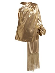 Hillier Bartley One Shoulder Fringed Scarf Top Gold