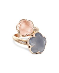 Pasquale Bruni 18K Rose Gold Wrap Ring With Rose Quartz Chalcedony And Diamonds