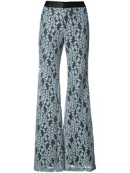 Alexis Embroidered Flared Trousers Blue