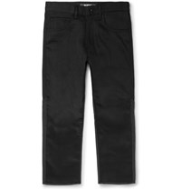 Junya Watanabe Cropped Panelled Wool And Deni Jeans Black