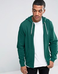 Asos Zip Up Hoodie In Green Swamp