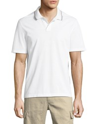Vince Tipped Collar Ribbed Polo Shirt Optic White