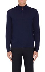 Piattelli Men's Merino Wool Mock Turtleneck Sweater Navy