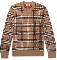 Burberry Checked Brushed Cashmere Sweater Camel