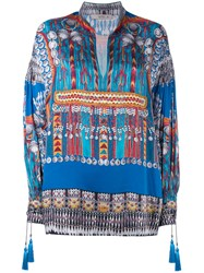 Etro Printed Tunic Women Silk Cotton Polyester Viscose 40 Blue