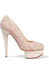 Charlotte Olympia Polly Lace And Leather Pumps Ivory