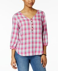 G.H. Bass And Co. Plaid Bishop Sleeve Top Passion Pink