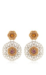 Rodarte Nickel Baroque Earrings With Ambet And Amethyst Glass Cabochons Silver
