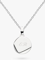Kit Heath Personalised Sterling Silver Coast Facet Round Pendant Necklace Silver