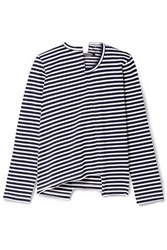 Junya Watanabe Asymmetric Striped Cotton Jersey Top Navy