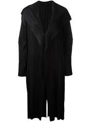Issey Miyake Pleats Please By Draped Front Pleated Coat Black