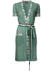 Missoni Zig Zag Shortsleeved Belted Cardigan Green
