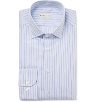 Etro Light Blue Slim Fit Striped Cotton Poplin Shirt Blue
