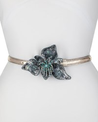 Dries Van Noten Skinny Leather Belt W Sequined Flower Blue