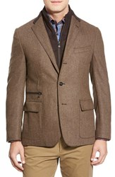 Men's Big And Tall Corneliani Classic Fit Herringbone Wool And Cashmere Sport Coat With Removable Liner Brown Herringbone