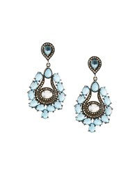 Bavna Topaz Moonstone And Diamond Teardrop Earrings