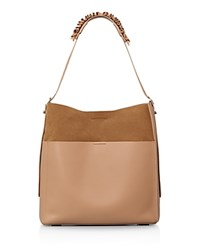 Allsaints Maya North South Leather Tote Light Caramel Silver