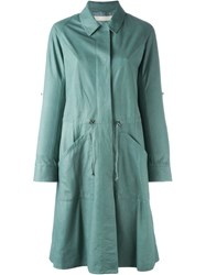 Drome Trench Style Leather Coat Green