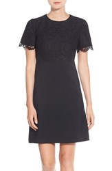 Maggy London Petite Women's Lace Accent Crepe Fit And Flare Dress Black