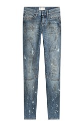 Faith Connexion Cropped And Distressed Skinny Jeans Blue