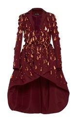 Christian Siriano Embellished Evening Coat Burgundy