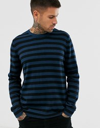 Only And Sons Crew Neck Knitted Jumper In Blue Stripe