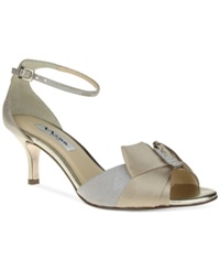 Nina Cyprian Mid Heel Evening Sandals Women's Shoes Taupe