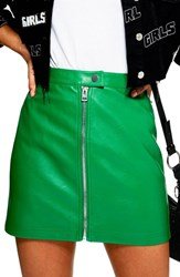 Topshop Penelope Faux Leather Miniskirt Green