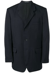 Yohji Yamamoto Oversized Single Breasted Blazer Blue