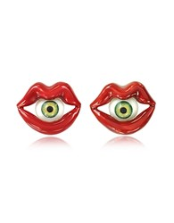 Bernard Delettrez Red Enamel Bronze Mouth Earrings W Eye