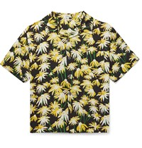 Loewe Camp Collar Floral Print Matte Satin Shirt Yellow