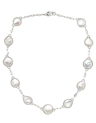 Honora Style Sterling Silver And Freshwater Pearl Coin Necklace Pearl Silver