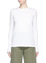 Alexander Wang Logo Embroidered Long Sleeve Cotton T Shirt White