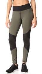 Michi Moto Zip Leggings Olive Black