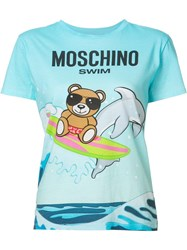 Moschino Teddy And Dolphin T Shirt Blue