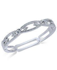 Charter Club Silver Tone Pave Hinged Bangle Bracelet Only At Macy's