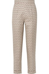Brock Collection Peregrine Cotton And Silk Blend Brocade Tapered Pants Light Gray