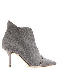 Malone Souliers Cora Herringbone Wool Ankle Boots Grey