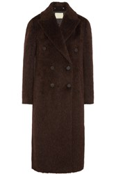 By Malene Birger Ayana Double Breasted Brushed Knitted Coat Burgundy