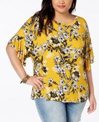 Eyeshadow Trendy Plus Size Flutter Sleeve T Shirt Tropic Gold New Brew